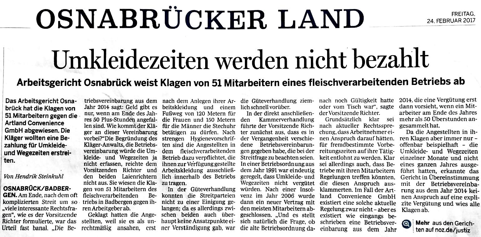Urteil Osnabrück Umkleidezeiten_2