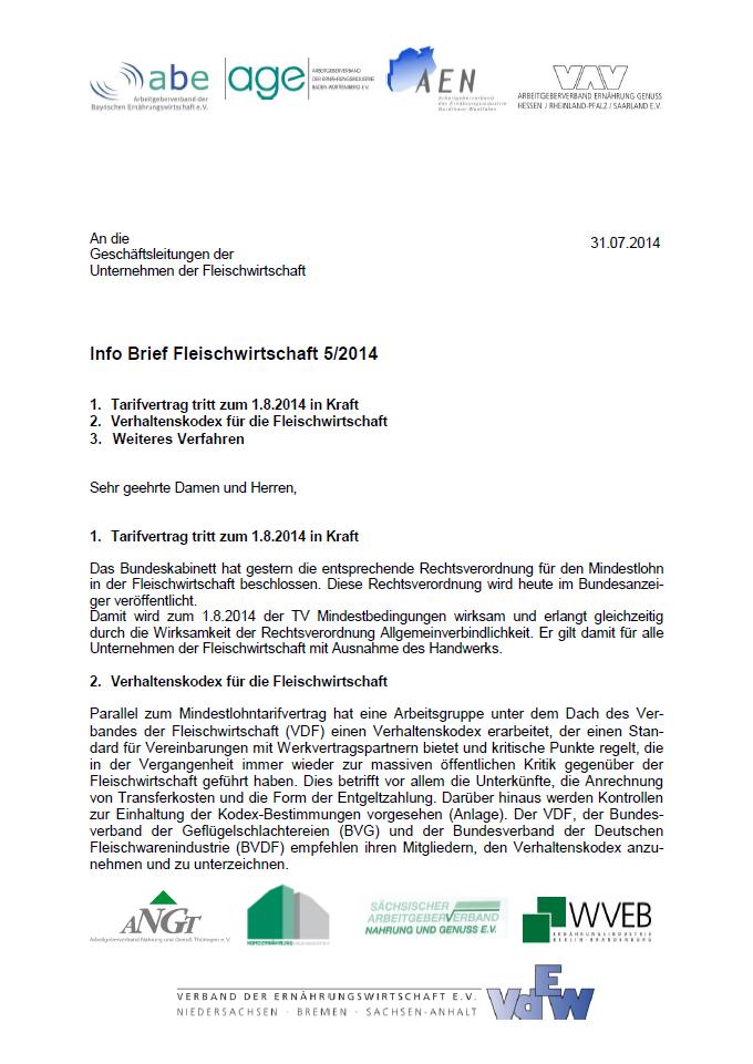 Ausschnitt Info Brief 5-2014