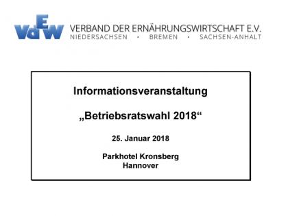 """Informationsveranstaltung vom 25.01.2018 """"Betriebsratswahl 2018″"""