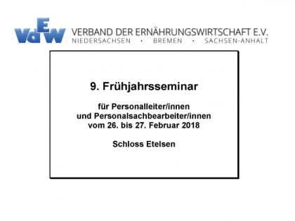 9. Frühjahrsseminar für Personalleiter/innen und Personalsachbearbeiter/innen