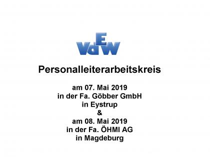 Personalleiterarbeitskreise vom 07. und 08. Mai 2019