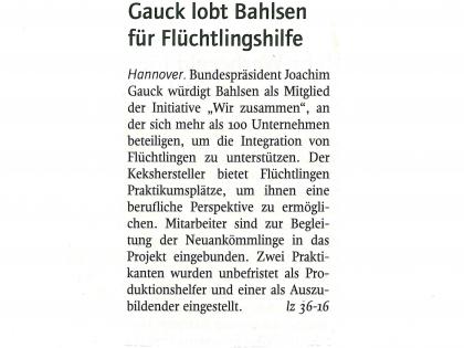Gauck lobt Bahlsen für Flüchtlingshilfe