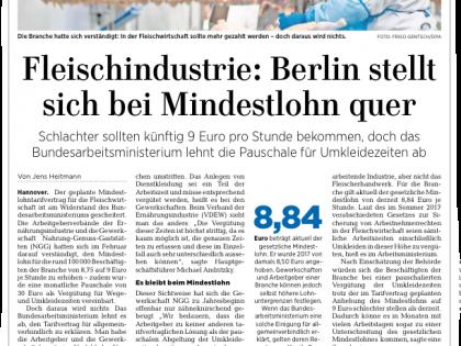 Kein Mindestlohn für die Fleischwirtschaft – Berlin stellt sich bei Mindestlohn quer