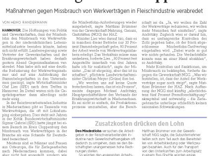 Niedersachsen will Ausbeutung von Billiglöhnern stoppen