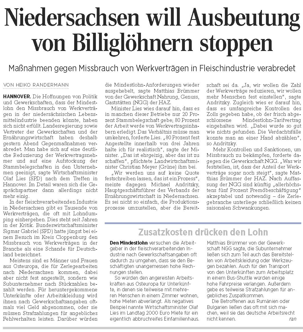 HAZ - Niedersachsen will Ausbeutung von Billiglöhnern stoppen 09 April 2015