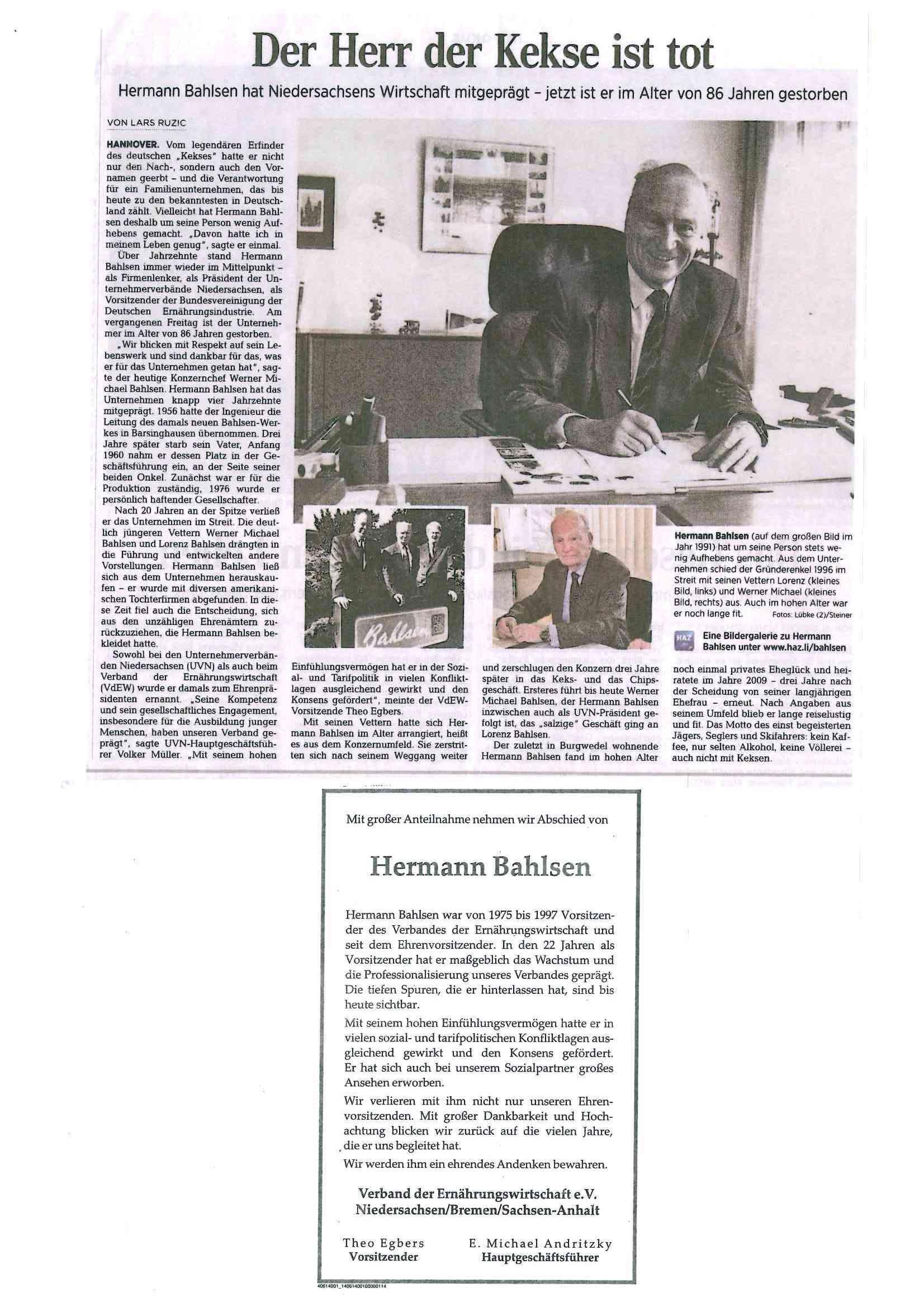 Presseartikel Herman Bahlsen verstorben